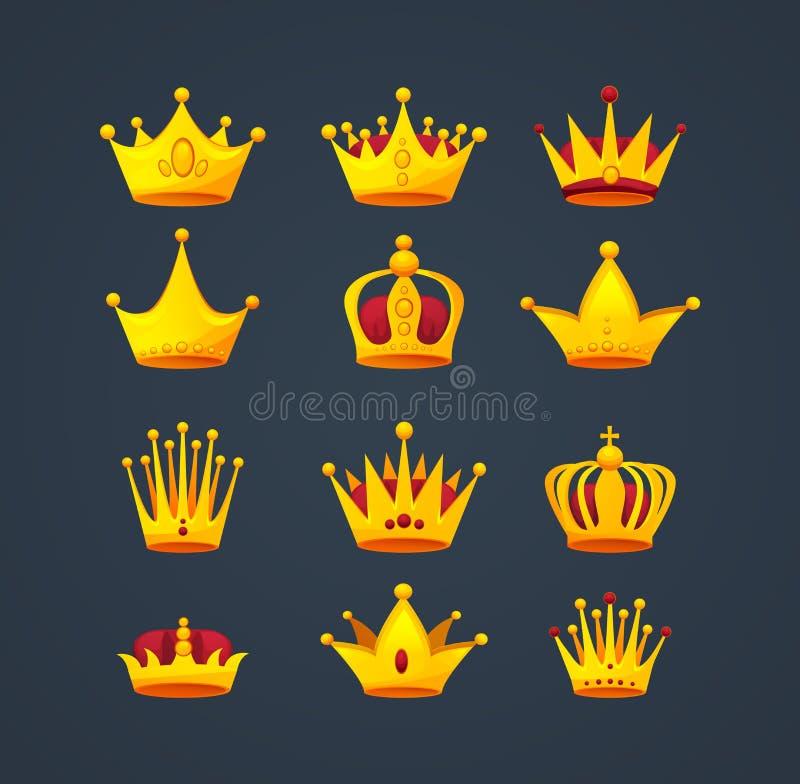 Uppsättningen av olika sorter av härlig lyxig guld krönar royaltyfri illustrationer