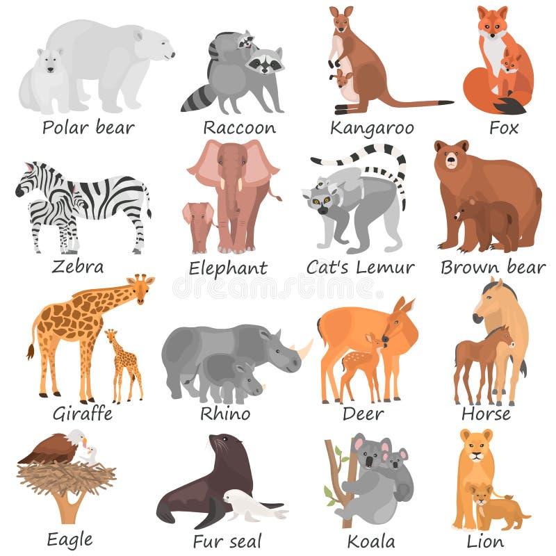 Uppsättningen av olika vuxna djur och deras gröngölingar färgar plana symboler stock illustrationer