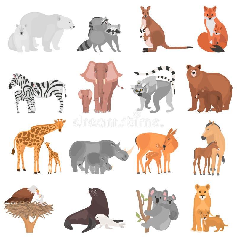 Uppsättningen av olika vuxna djur och deras gröngölingar färgar plana symboler vektor illustrationer