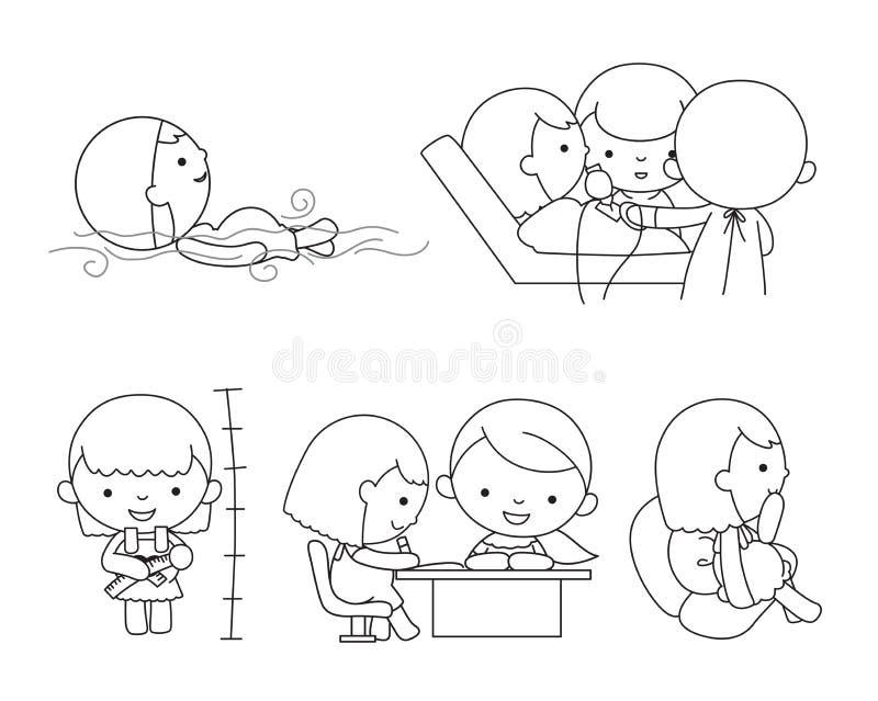 Uppsättningen av olikt poserar av gravid kvinna vektor illustrationer