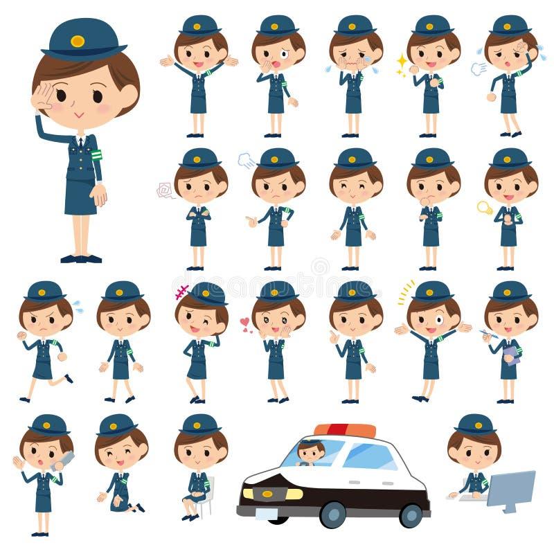 Uppsättningen av olikt poserar av kvinnlig polis vektor illustrationer