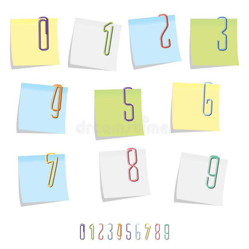Paperclipen numrerar uppsättningen royaltyfri illustrationer