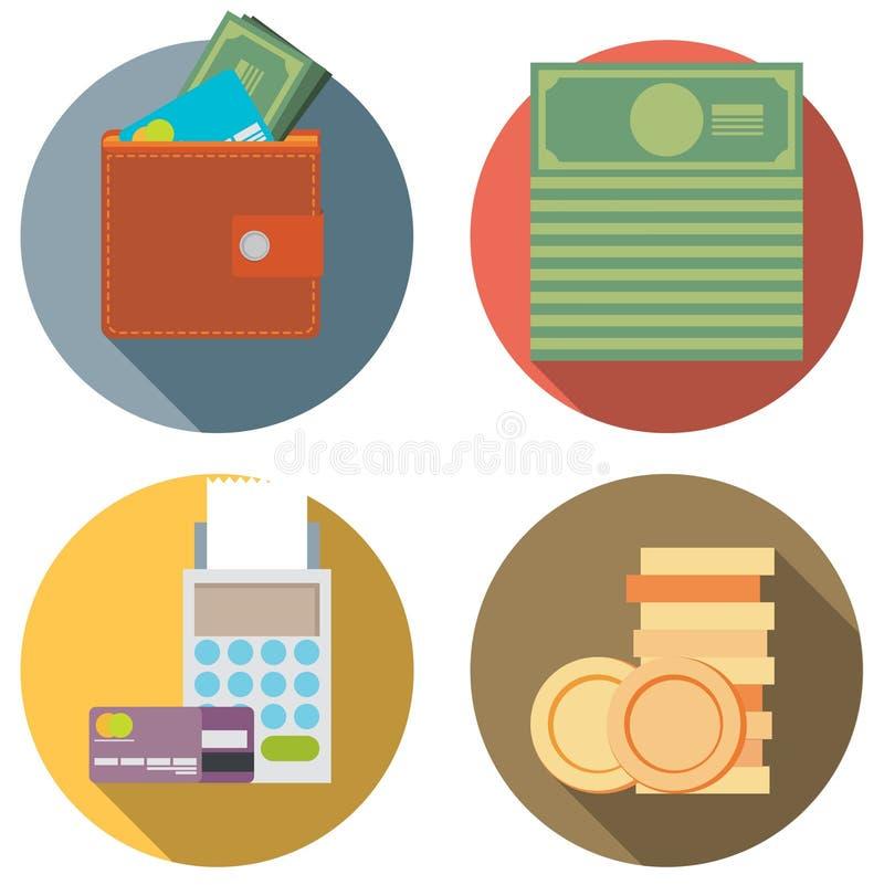 Uppsättningen av pengar, finans som packar ihop symboler planlägger framlänges, stil vektor illustrationer