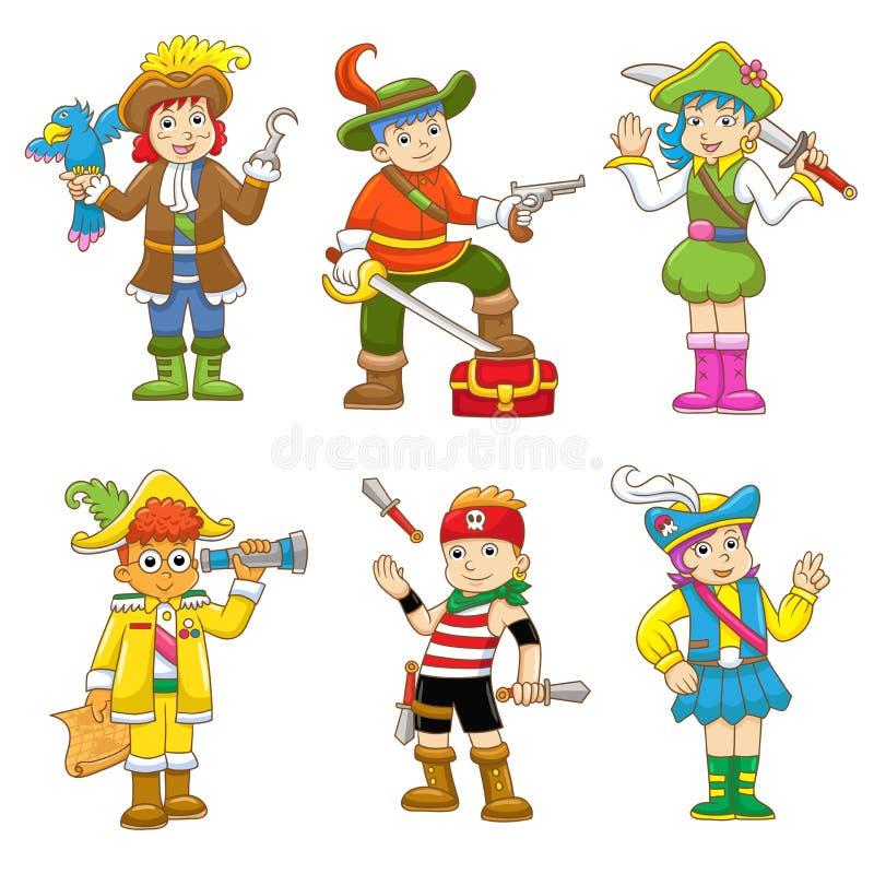 Uppsättningen av piratkopierar barntecknade filmen stock illustrationer