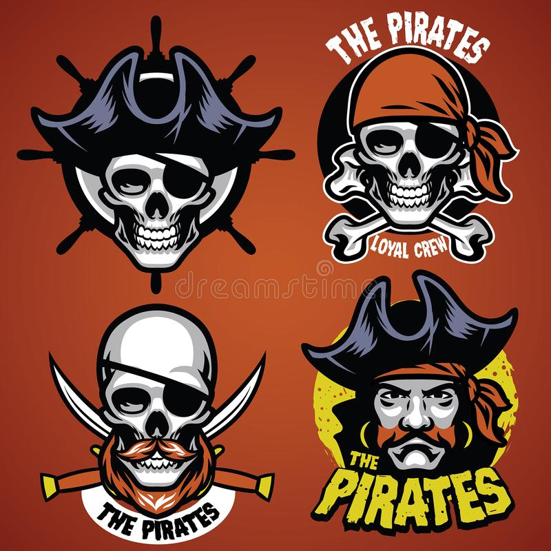 Uppsättningen av piratkopierar emblemet vektor illustrationer