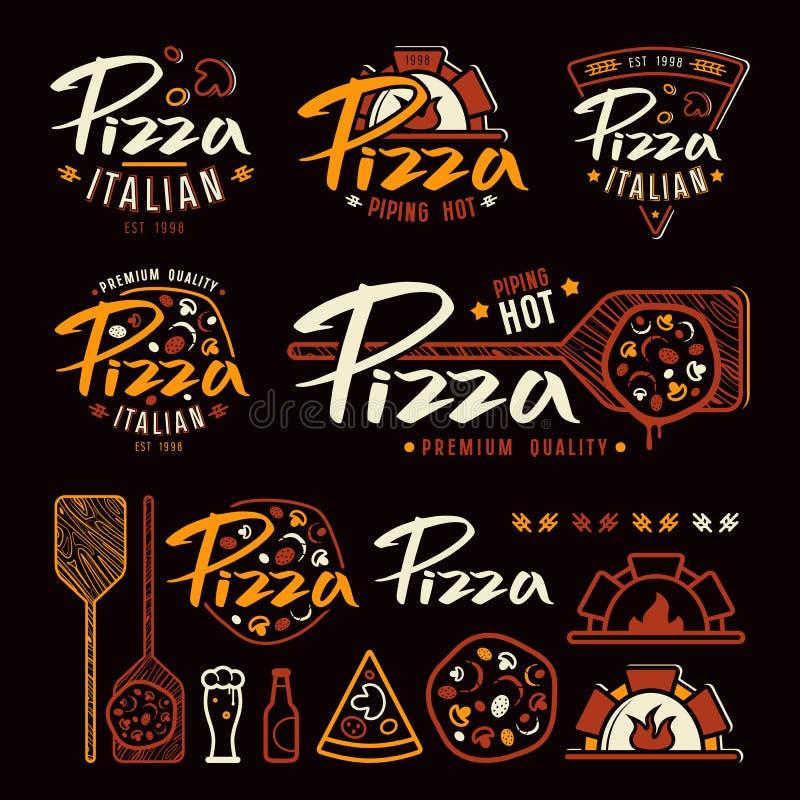 Uppsättningen av pizzeria märker, emblem och designbeståndsdelar stock illustrationer