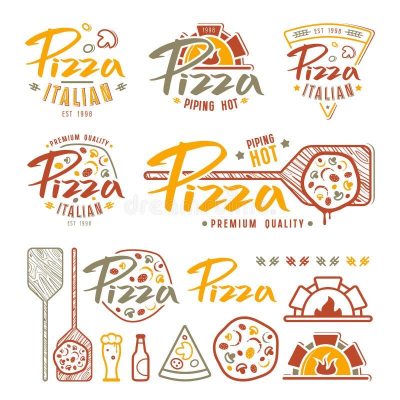 Uppsättningen av pizzeria märker, emblem och designbeståndsdelar royaltyfri illustrationer