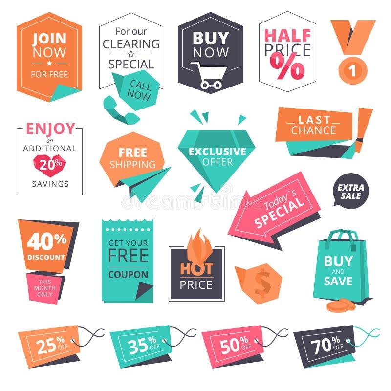 Uppsättningen av plan designstil förser med märke och etiketter för att shoppa stock illustrationer