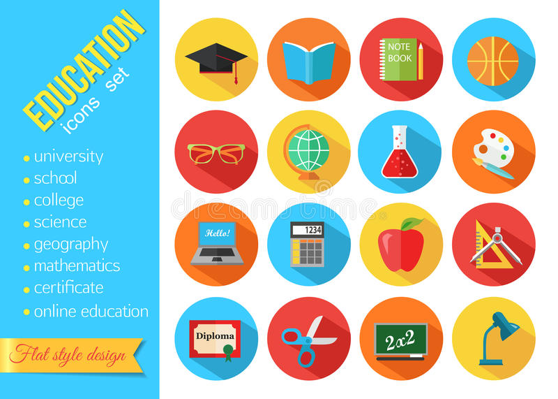 Uppsättningen av plana skola- och utbildningssymboler ställde in stock illustrationer