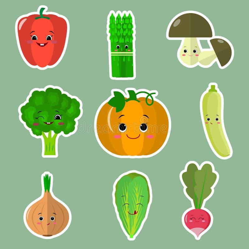 Uppsättningen av plana symboler av grönsaken ler klistermärkear på en grön bakgrund royaltyfri illustrationer