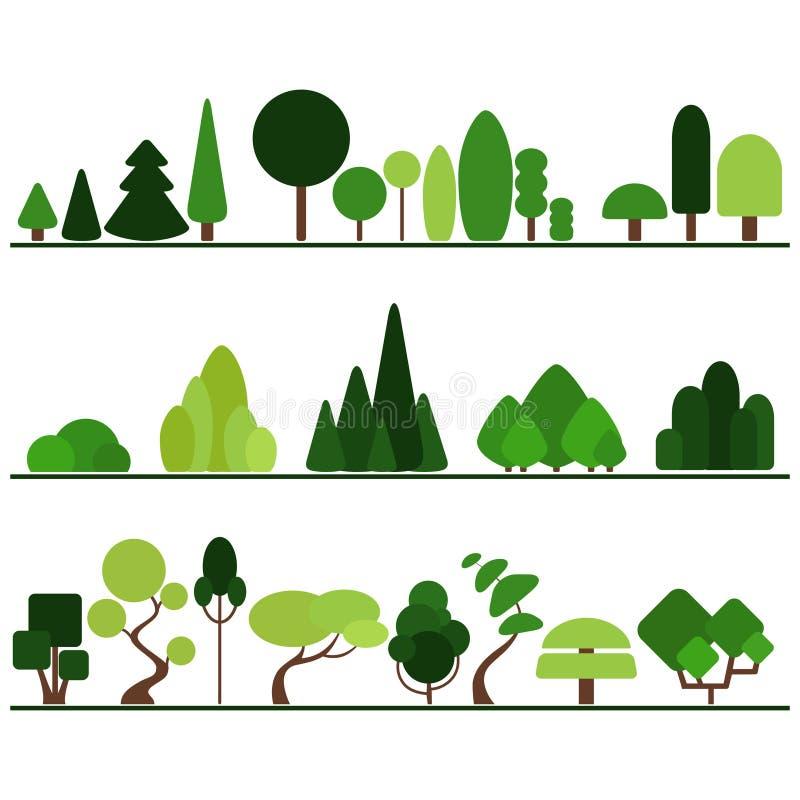 Uppsättningen av plana träd inklusive sörjer, buskar, infallväxter vektor illustrationer