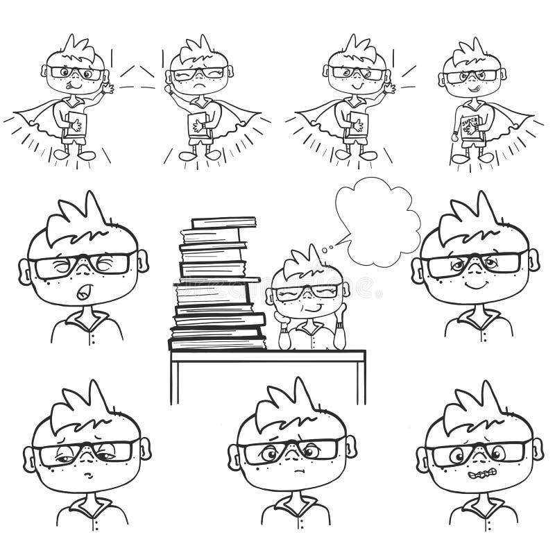 Uppsättningen av pojkeframsidan, sinnesrörelsepys sitter på skolan, drömmar bak en hög av böcker, monokrom teckningshandmålarfärg stock illustrationer