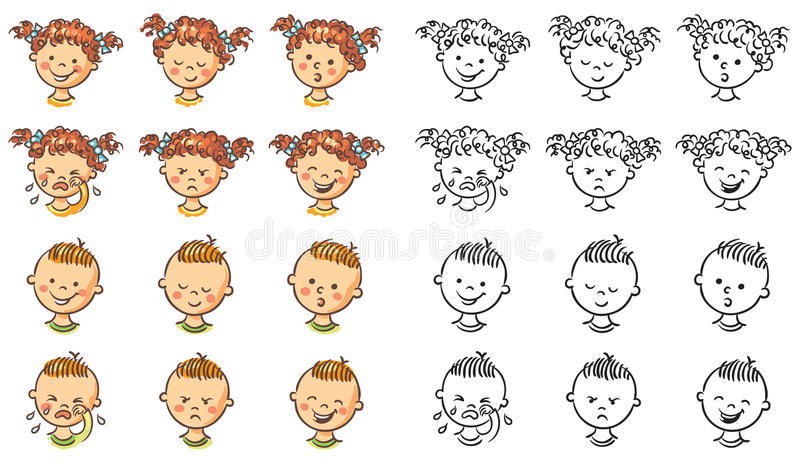 Uppsättningen av pojken och flickan vänder mot med olika sinnesrörelser vektor illustrationer