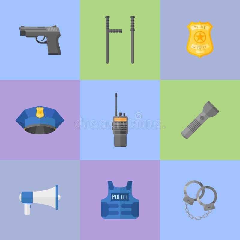 Uppsättningen av polisutrustning, vapen sänker stilsymboler stock illustrationer
