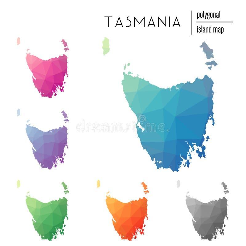 Uppsättningen av polygonal Tasmanien för vektorn översikter fyllde med stock illustrationer