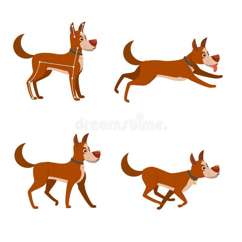 Uppsättningen av poserar för animeringen av hunden Köra och gå den gulliga hunden för tecknad film royaltyfri illustrationer