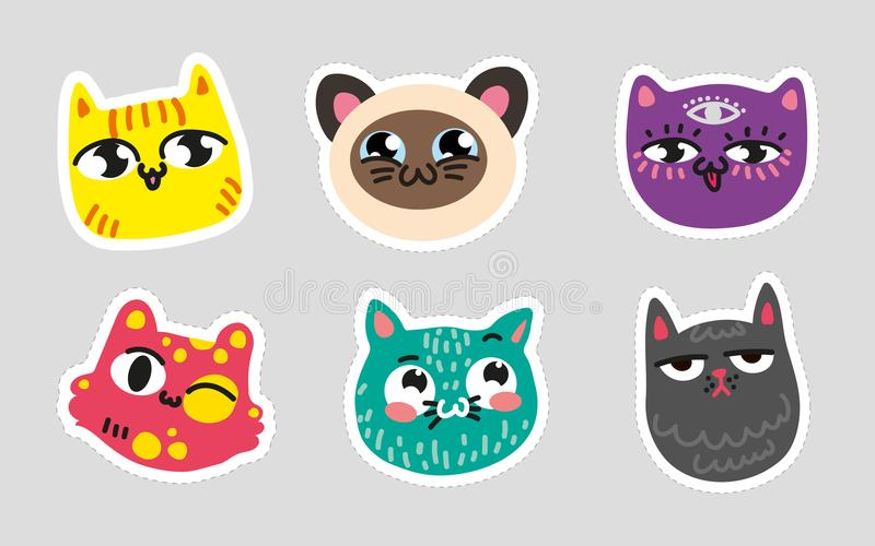 Uppsättningen av prack linjer för katt emojien på färgrik uppsättning för grå bakgrund av katter för typ för attraktion för kitty stock illustrationer