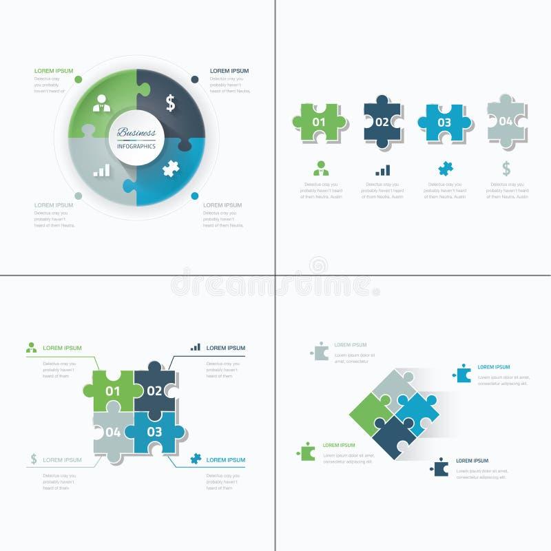 Uppsättningen av pusslet lappar figursågaffärsinfographics stock illustrationer