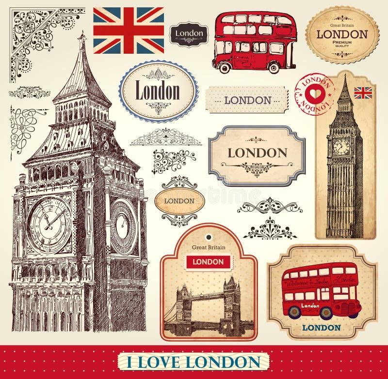 Uppsättning av London symboler royaltyfri illustrationer
