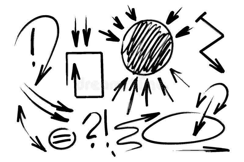 Uppsättningen av räcker utdragna pilar Utdragen uppsättning för markör av olika pilar och fläckar Isolerade designbeståndsdelar K royaltyfri illustrationer