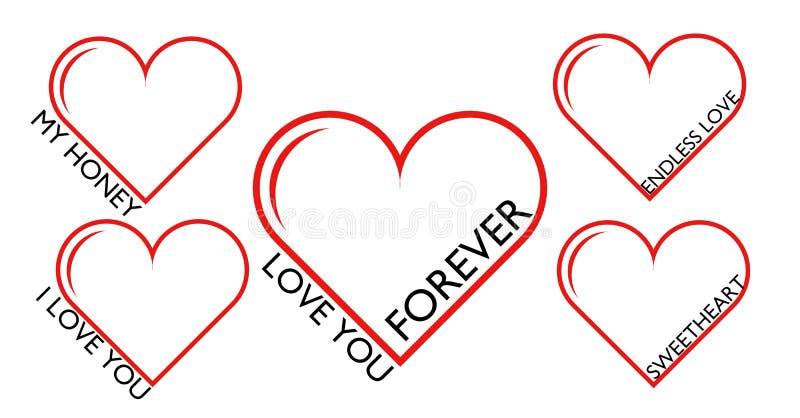 Uppsättningen av röda hjärtor, älskar dig för evigt stock illustrationer