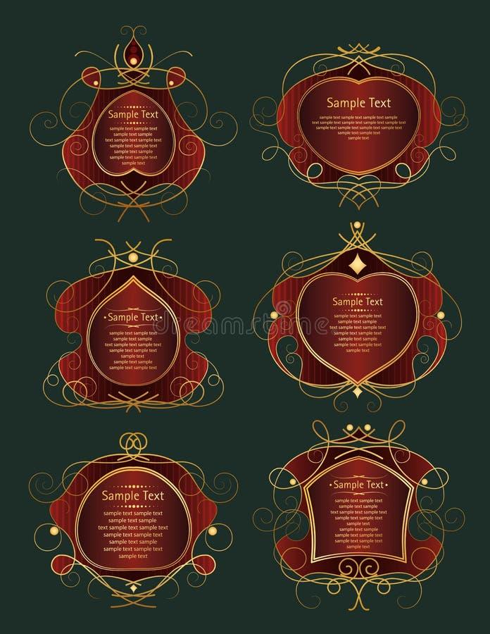 Uppsättningen av rött och guld- inramar vektor illustrationer