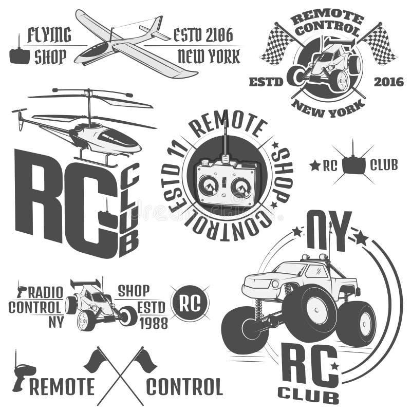 Uppsättningen av radion kontrollerade maskinemblem, RC, radio kontrollerade leksaker planlägger beståndsdelar för emblem, symbole vektor illustrationer
