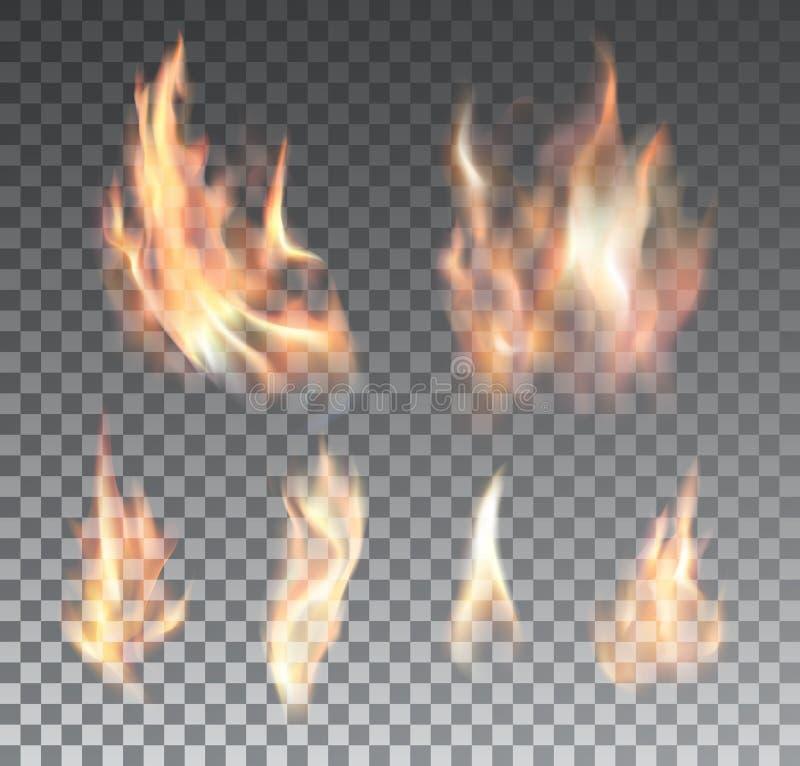 Uppsättningen av realistisk brand flammar på genomskinligt stock illustrationer