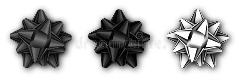Uppsättningen av realistisk dekorativ svart och silver bugar isolerat på vit med skugga royaltyfri illustrationer