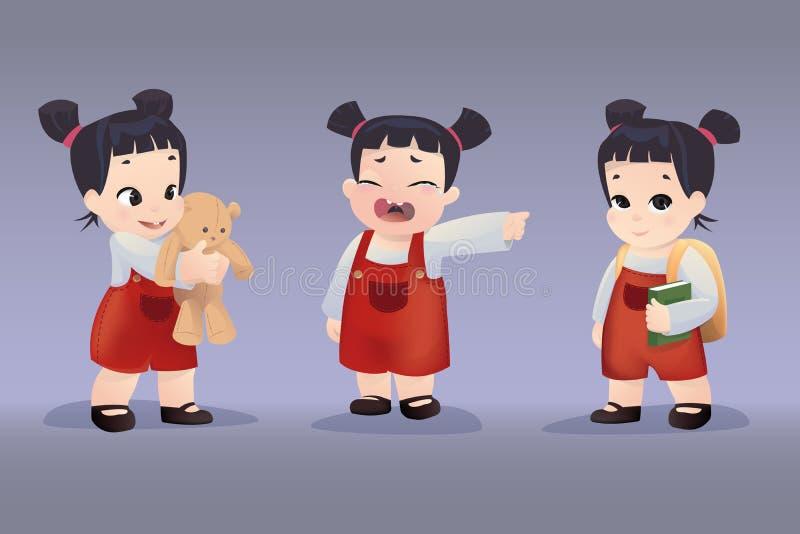 Uppsättningen av realistiska flickor 3D med olika sinnesrörelser och poserar stock illustrationer