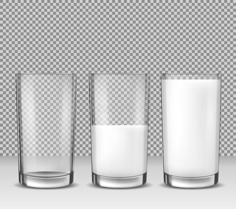 Uppsättningen av realistiska illustrationer för vektorn, symboler, glass exponeringsglas tömmer, halvfullt, och fullt av mjölka,  stock illustrationer