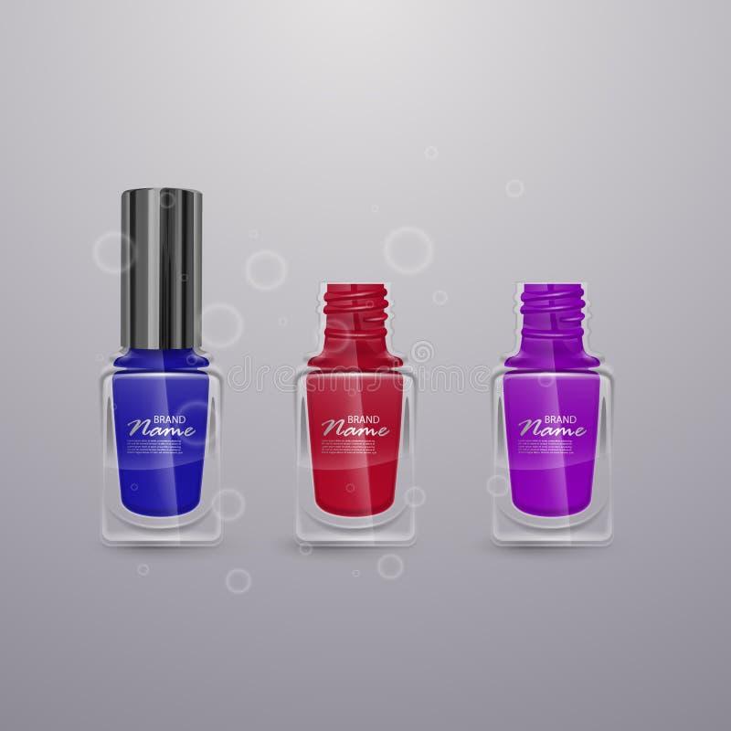 Uppsättningen av realistiskt spikar polermedel av ljusa färger, illustrationer 3d, annonser för designskönhetsmedel och modebakgr royaltyfri illustrationer