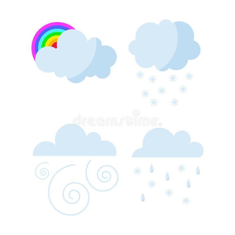 Uppsättningen av regnigt väder fördunklar symbolsvektorn vektor illustrationer