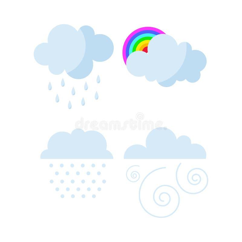 Uppsättningen av regnigt väder fördunklar symbolsvektorn royaltyfri illustrationer
