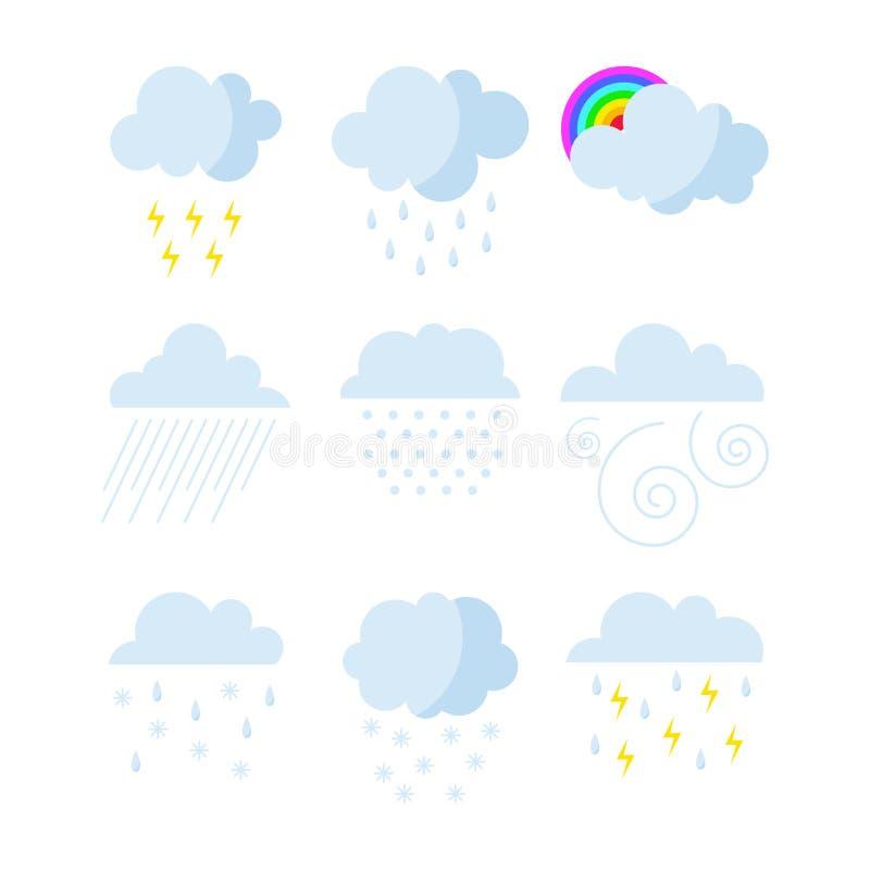 Uppsättningen av regnigt väder fördunklar symbolsvektorn stock illustrationer