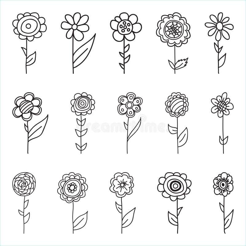 Uppsättningen av retro stil blommar i ljusa färger arkivfoto