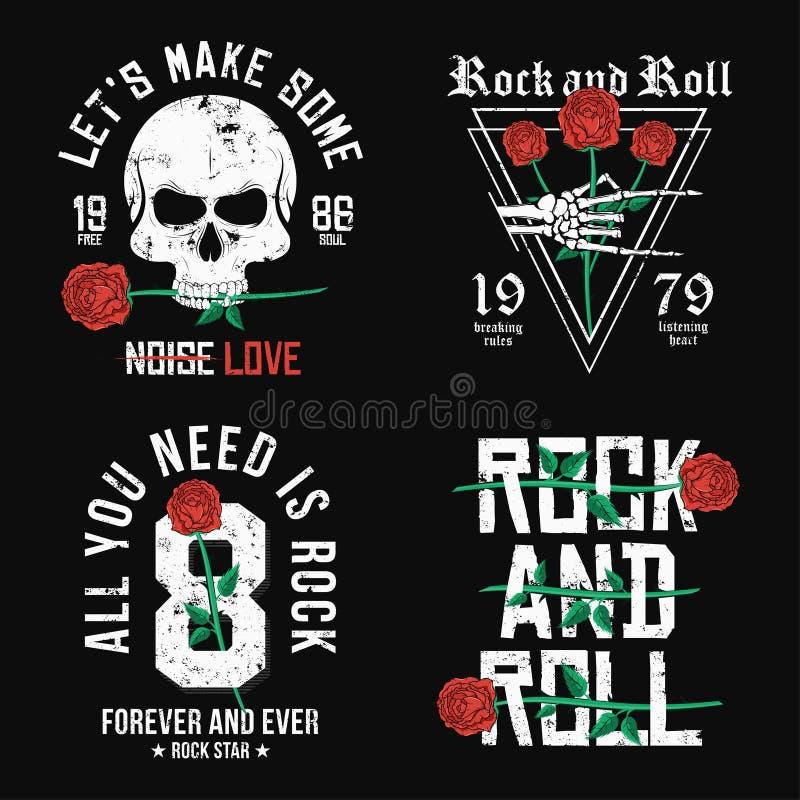 Uppsättningen av Rock - och - rulla t-skjortan designen Röda rosor, skalle och skelett- hand Tappning vaggar musikstildiagrammet  stock illustrationer