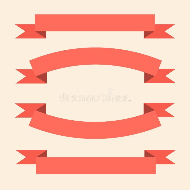 Uppsättningen av rosa färger sänker bandbaner royaltyfri illustrationer