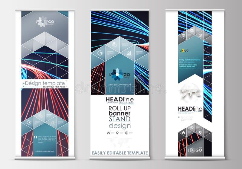 Uppsättningen av rullar upp banerställningar, plana mallar, geometrisk stil, den moderna affärsidéen, företags vertikala reklambl vektor illustrationer