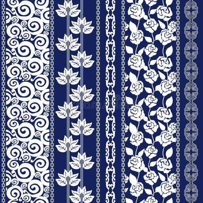 Uppsättningen av sömlös batik gränsar med bohemiska beståndsdelar vektor illustrationer