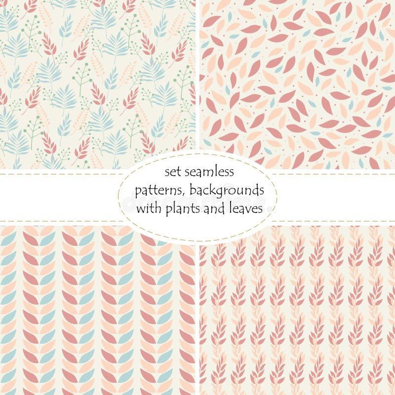 Uppsättningen av sömlös modell fyra med sidor och förgrena sig sidor i pastellfärgade färger av rosa färg- och persikaskuggor Abs stock illustrationer
