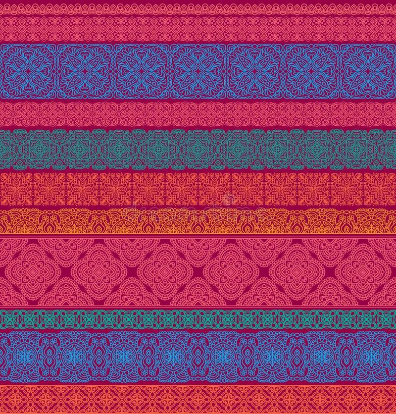 Uppsättningen av sömlöst snör åt gränser, dekorativa papperslinjer Stam- etnisk dekorativ prydnad, geometriska modeller för vekto vektor illustrationer