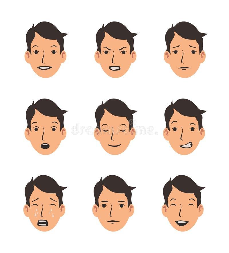 Uppsättningen av ` s för den unga mannen vänder mot med olika sinnesrörelser Emoji emoticonsamling Plan vektorillustration Isoler stock illustrationer