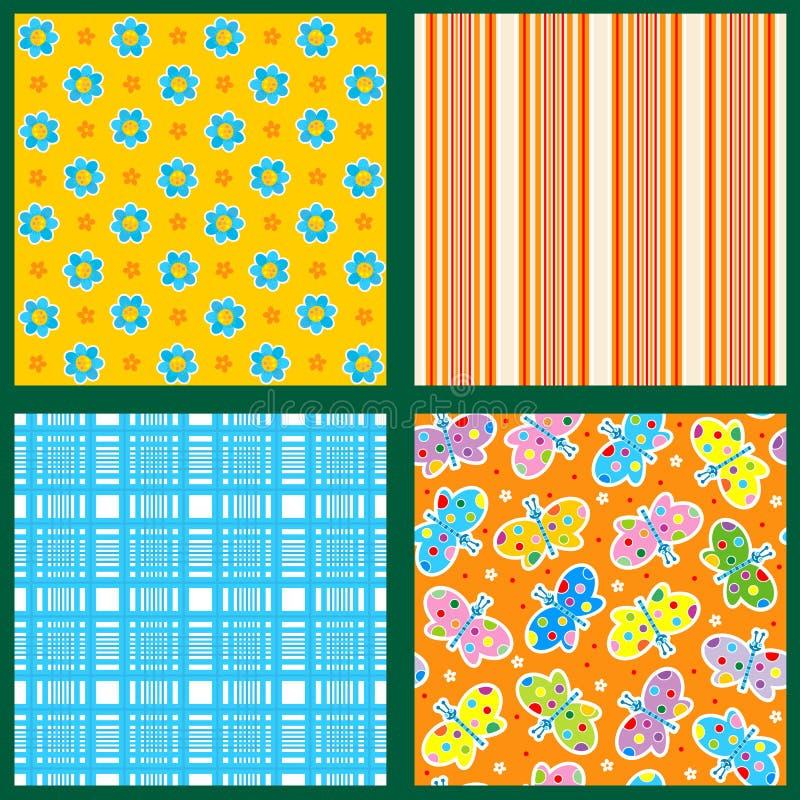 Seamless mönstrar eller den blom- bakgrundsuppsättningen -, plädet som göras randig, fjärilar vektor illustrationer