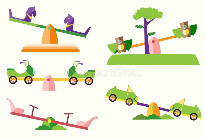 Uppsättningen av ser sågen på lekplatser, vektorillustrationer stock illustrationer