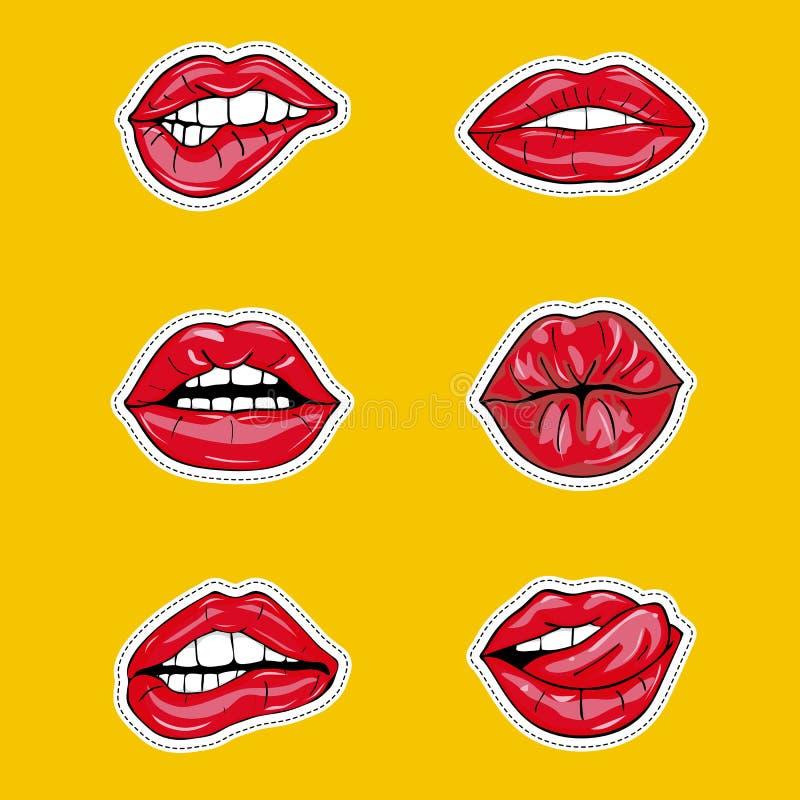 Uppsättningen av sexiga kvinnliga kanter i röd glansig läppstift, förföriskt och att kyssa, bitit, med tungan, klubban, körsbär,  royaltyfri illustrationer