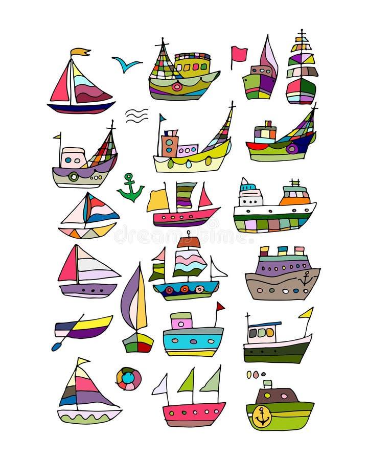 Uppsättningen av skepp, skissar för din design stock illustrationer