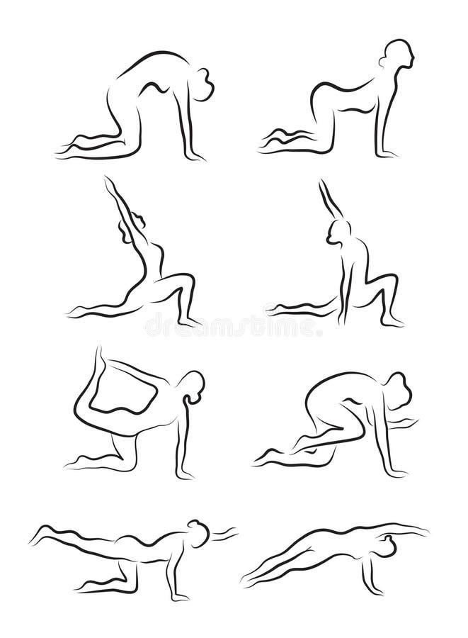 Uppsättningen av skissar av konturer av yogaasanas kopplad in flickayoga också vektor för coreldrawillustration stock illustrationer