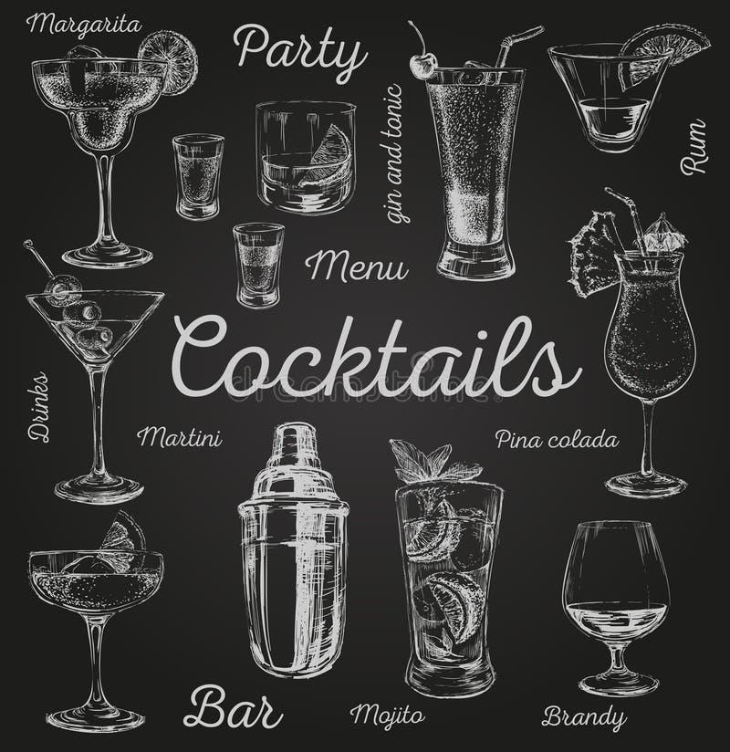 Uppsättningen av skissar drog illustrationen för coctail- och alkoholdrinkvektorn handen royaltyfri illustrationer