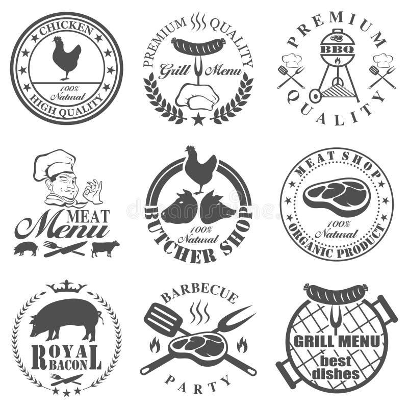 Uppsättningen av slaktare shoppar etiketter vektor illustrationer
